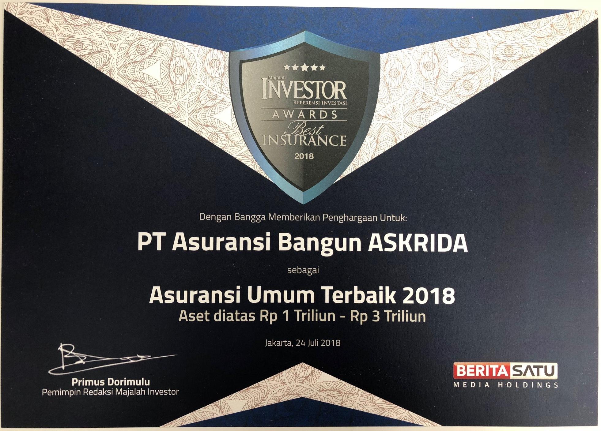 PENGHARGAAN ASURANSI UMUM TERBAIK 2018 (MAJALAH INVESTOR)