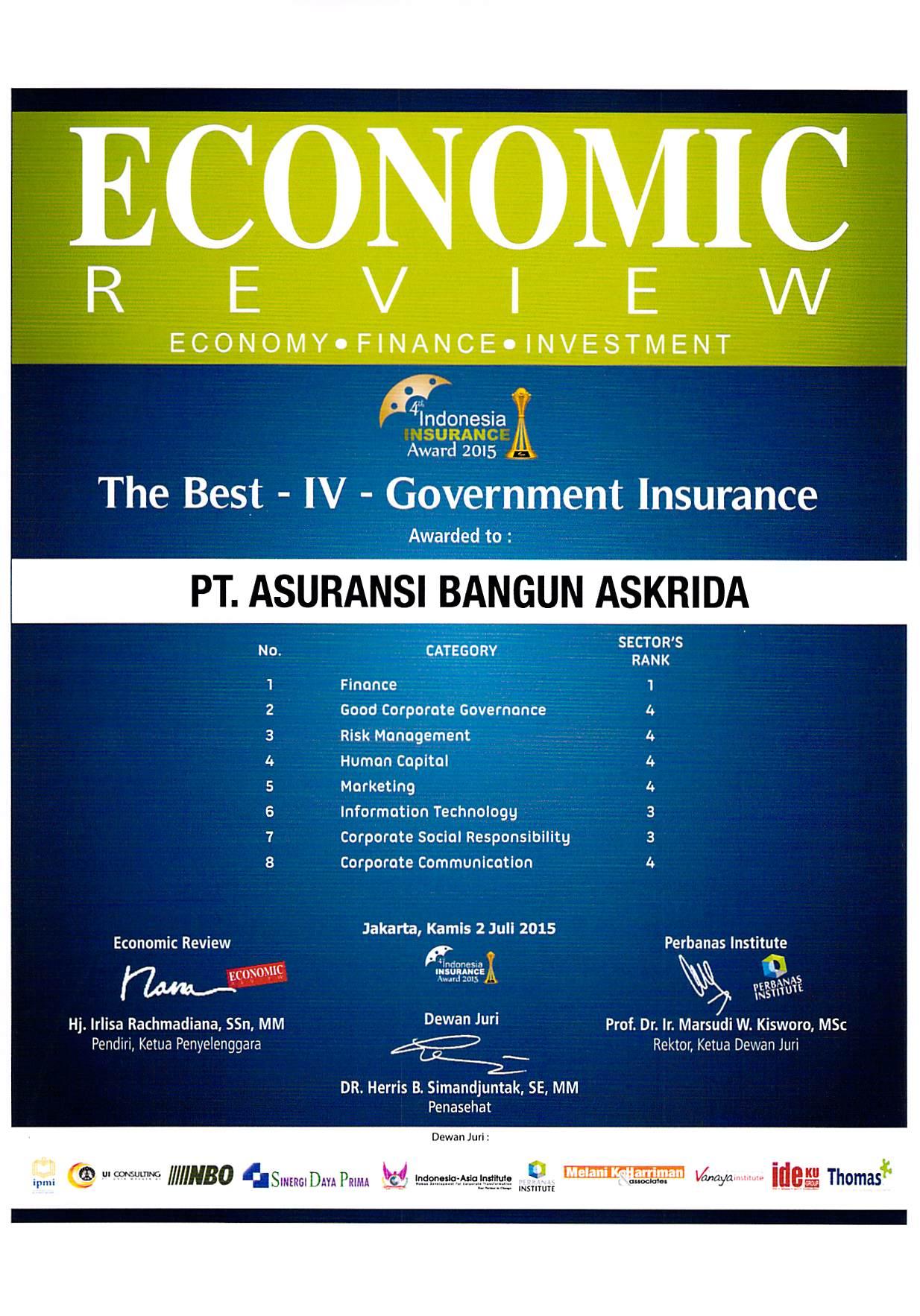 PENGHARGAAN TERBAIK IV ASURANSI PEMERINTAH 2015 (ECONOMIC REVIEWS)