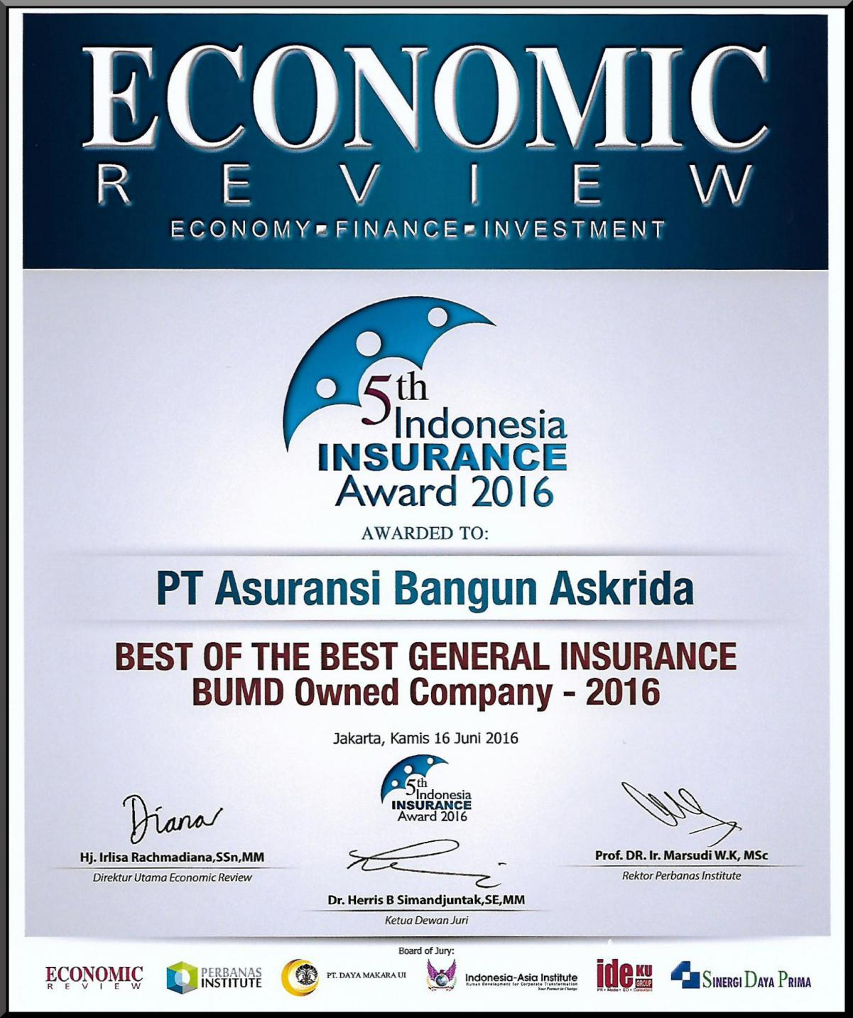 PENGHARGAAN THE BEST GENERAL INSURANCE (ECONOMIC REVIEWS)