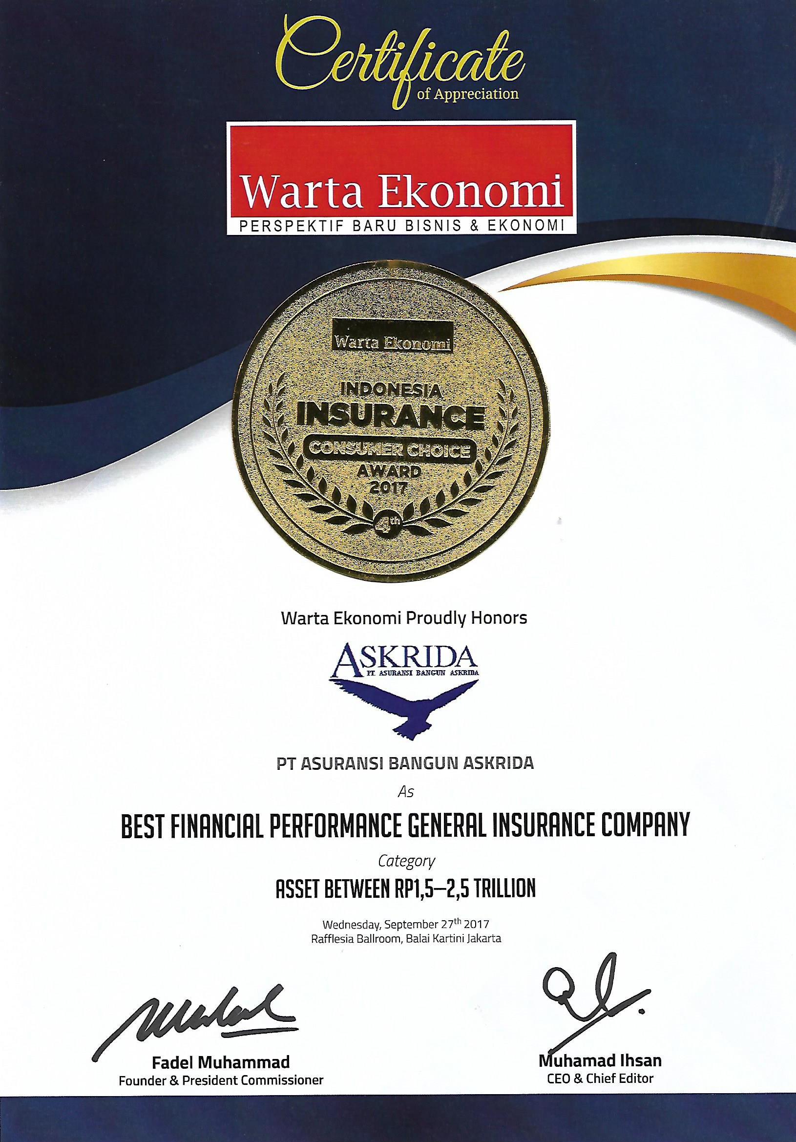 PENGHARGAAN BEST FINANCIAL PERFORMANCE GENERAL INSURANCE COMPANY 2017 (WARTA EKONOMI)