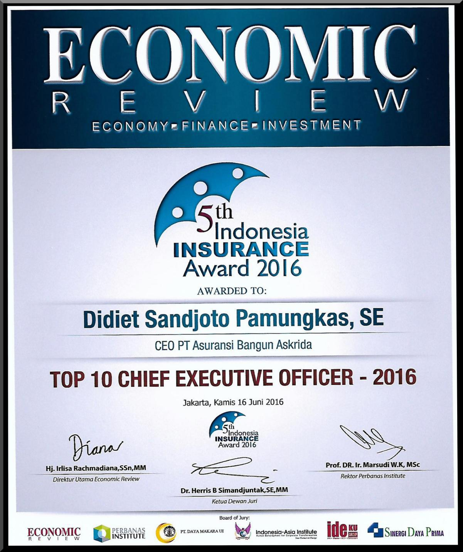 PENGHARGAAN TOP 10 CHIEF EXECUTIVE OFFICER 2016 (ECONOMIC REVIEWS)