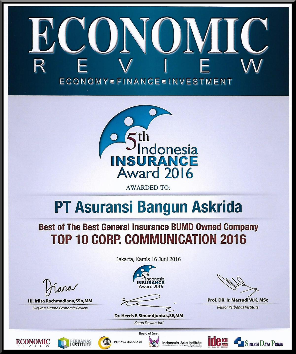PENGHARGAAN TOP 10 CORP. COMMUNICATION 2016 (ECONOMIC REVIEWS)