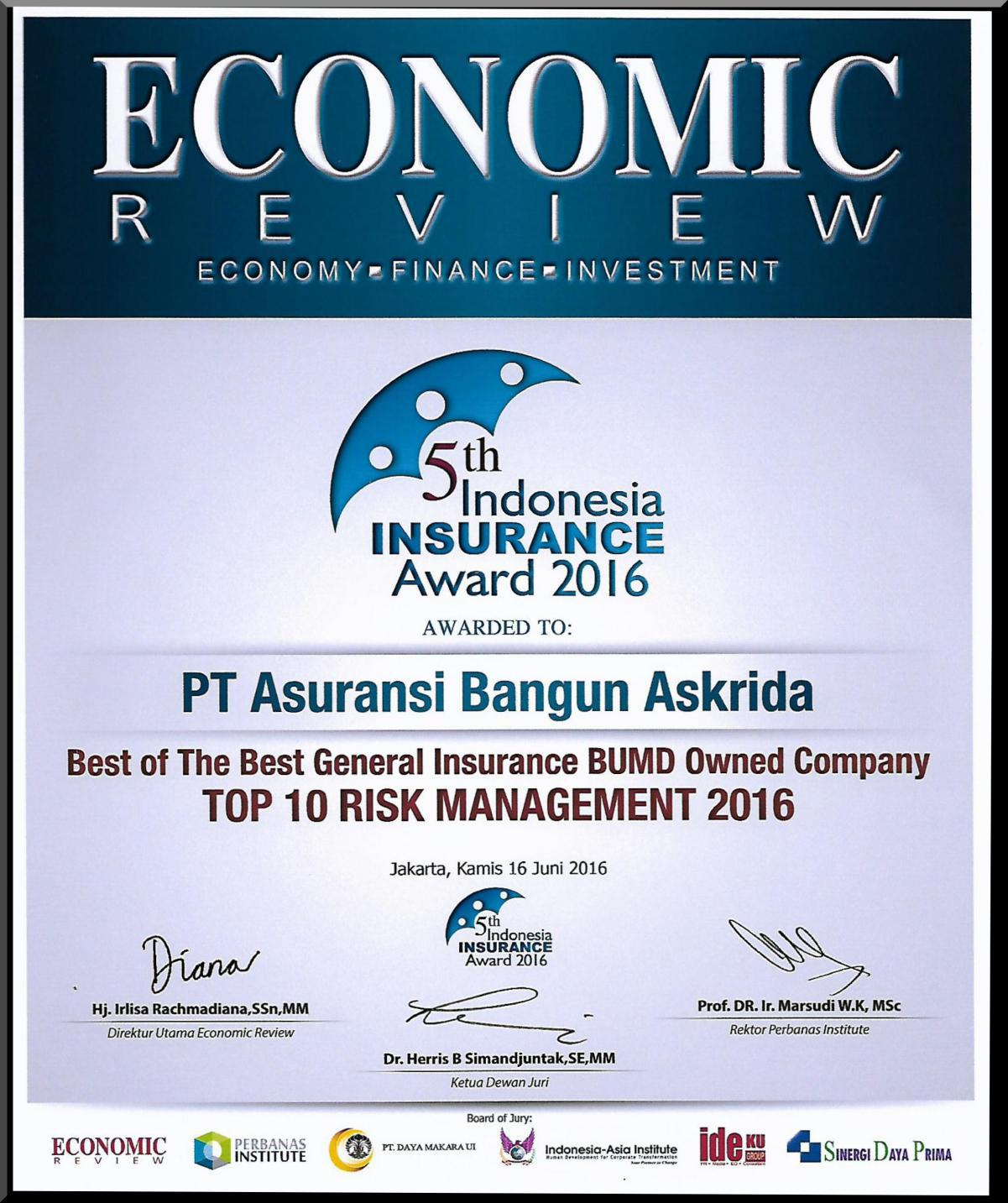 PENGHARGAAN TOP 10 RISK MANAGEMENT 2016 (ECONOMIC REVIEWS)