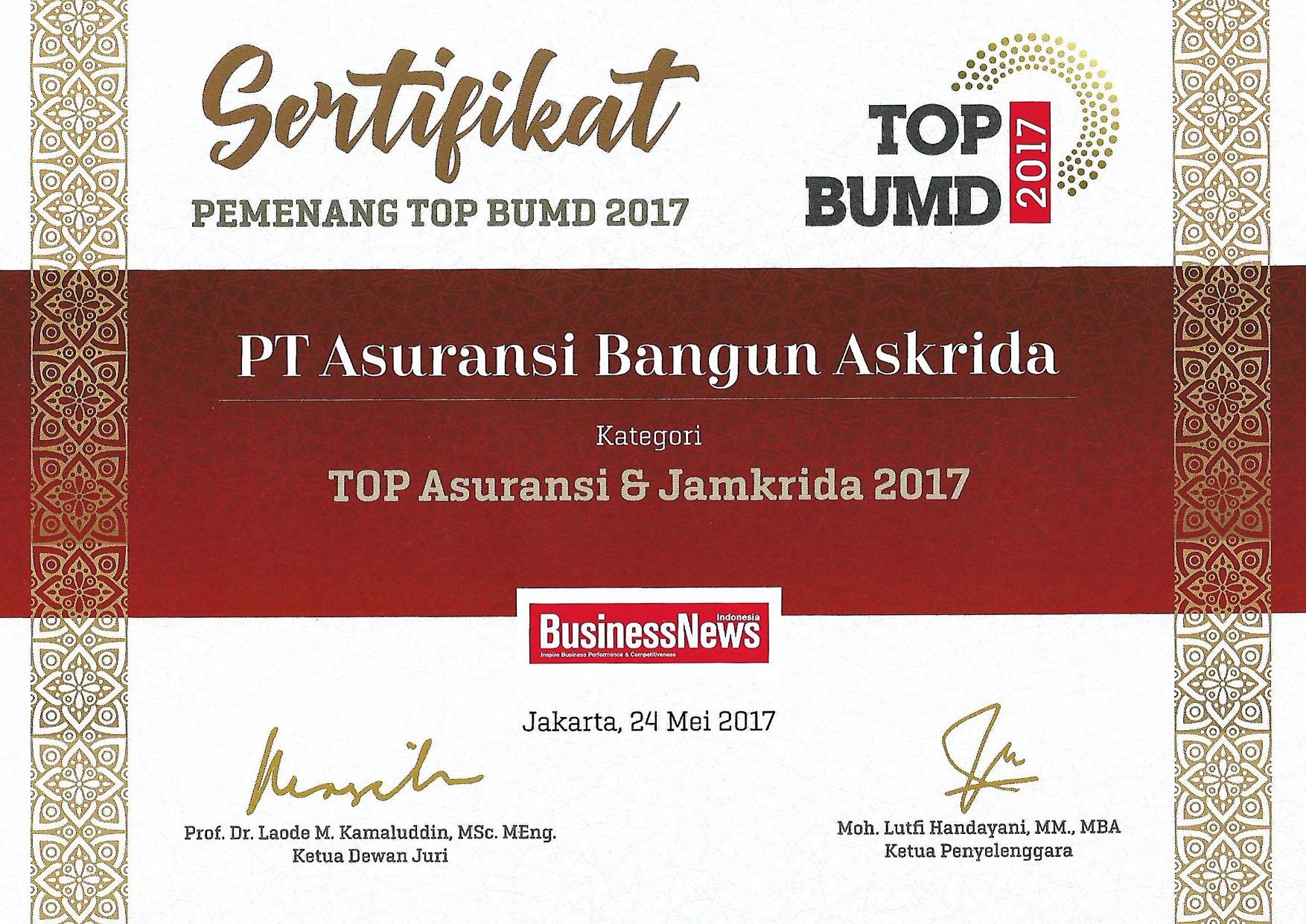 PENGHARGAAN TOP ASURANSI & JAMKRIDA 2017 (BusinessNews Indonesia)