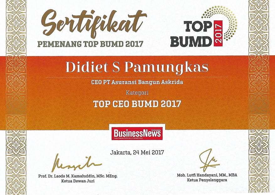 PENGHARGAAN TOP CEO BUMD 2017 (BusinessNews Indonesia)