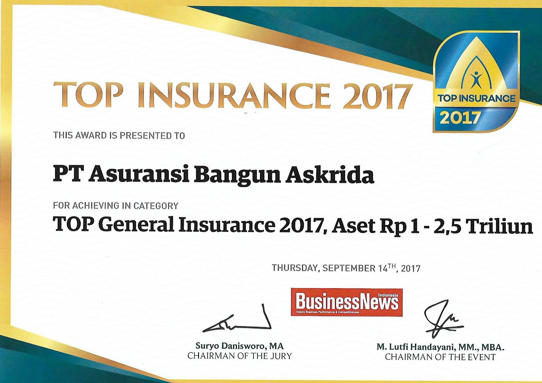 PENGHARGAAN TOP GENERAL INSURANCE 2017 (BusinessNews Indonesia)